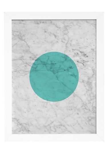 Nordbagen Marble Green Poster Beyaz